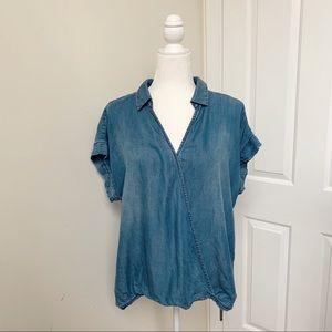 Velvet Heart Chambray Wrap Tee Shirt Top
